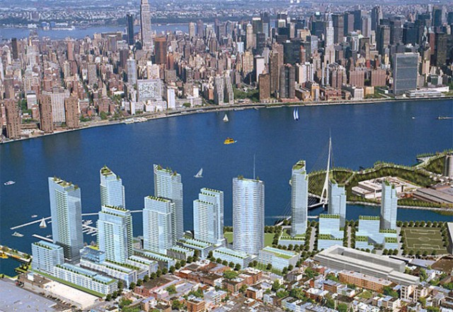 Very old rendering of the larger plan for Greenpoint Landing