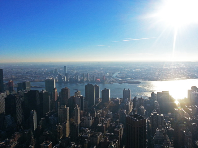 View East, over Midtown and Queens.
