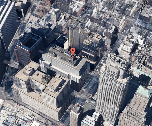 45 Park Place -- aerial via Google Maps