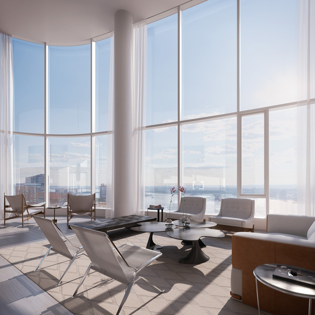 50 West Street Double Height Living Room