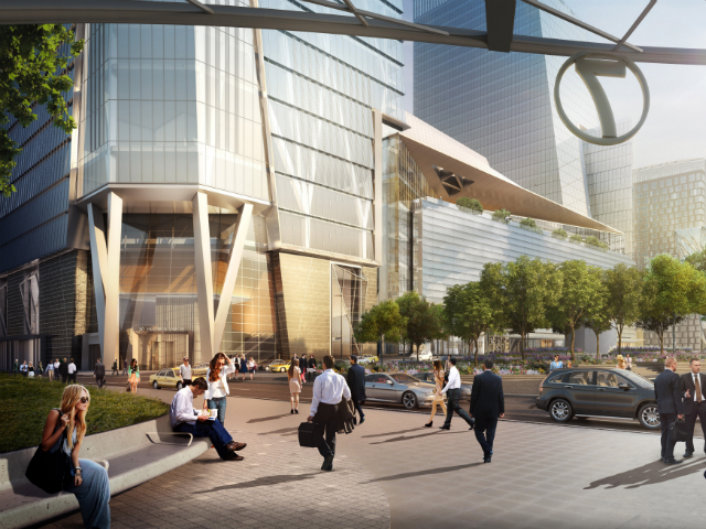 Rendering of 30 Hudson Yards, as seen from the 7 station, via Related