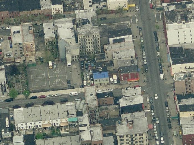 117 McKibben Street (lot with tightly-packed parked cars), overhead shot from Bing Maps