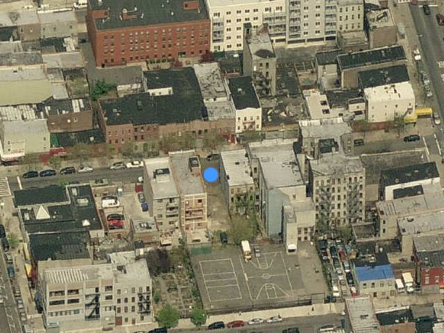 123-127 Boerum Street above the blue dot, overhead shot by Bing Maps