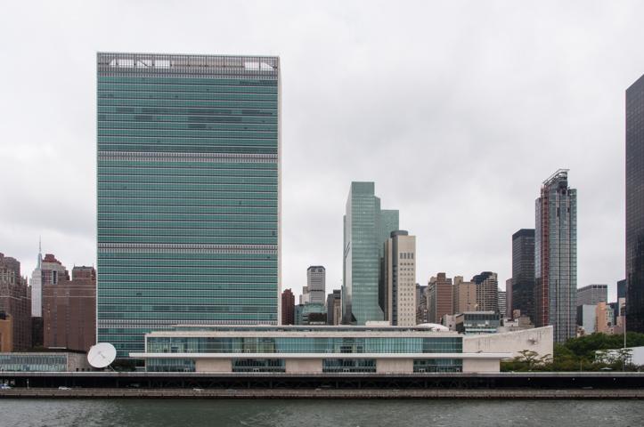 UN Secretariat Building (left) and 50 UN Plaza (right).