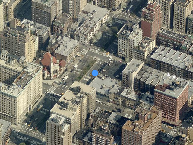 Overhead shot of 2230 Broadway (to the upper-left of the blue dot), from Bing Maps