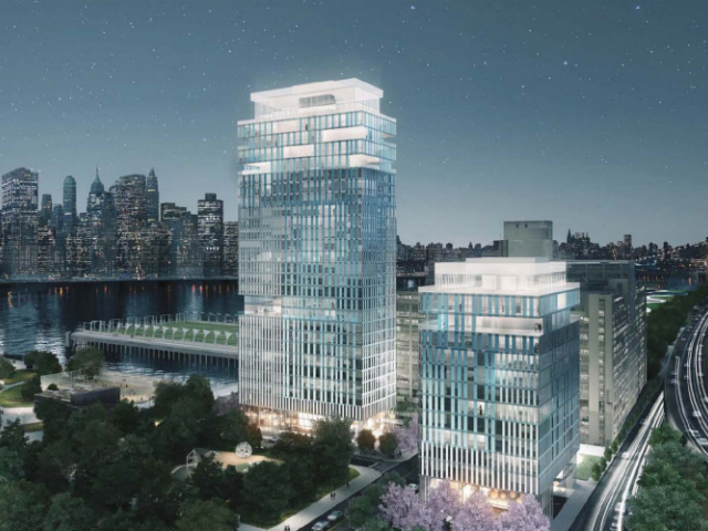 Asymptote Architecture's rendering for the new Brooklyn Bridge Park tower