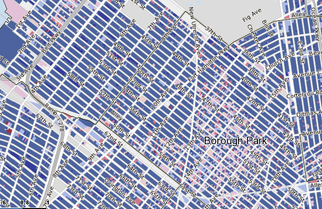 Hasidic Borough Park has much post-war construction (shades of red) than Chinese Sunset Park (on the left), and much lower housing prices. Map from PropertyShark.