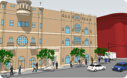 "101 Morningside Avenue, rendering from <a href=""http://www.saintlukebc.org/The_Vision_of_The_House.html"">St. Luke Baptist Church</a>"