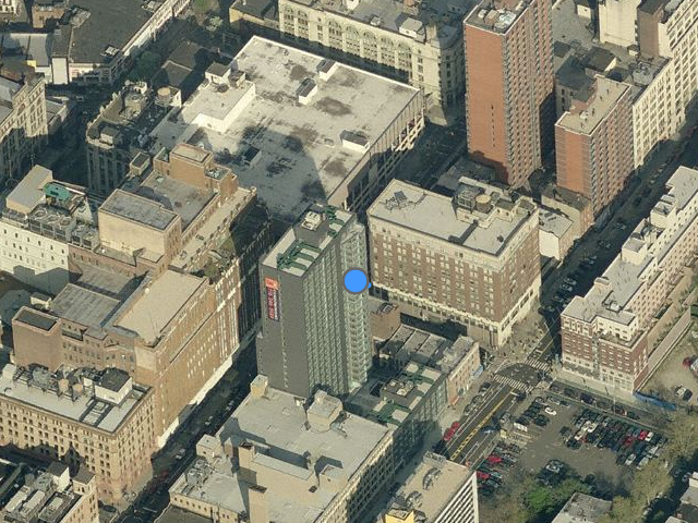 210 Livingston Street, old structure (singe demolished) to the right of the blue dot, overhead shot from Bing Maps
