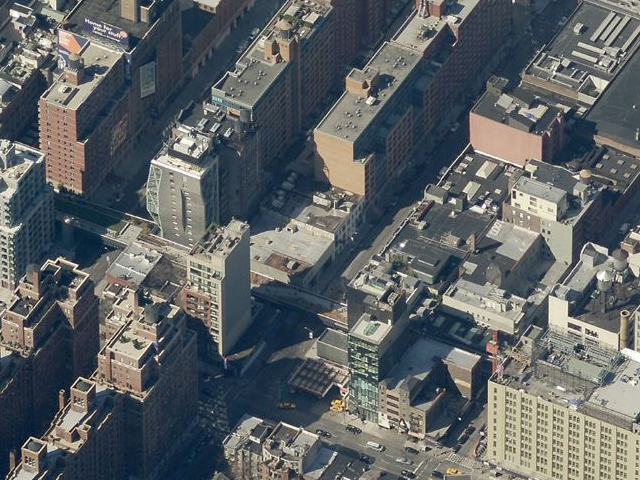 514 West 24th Street (low-rise building on the right in the middle), overhead shot by Bing Maps