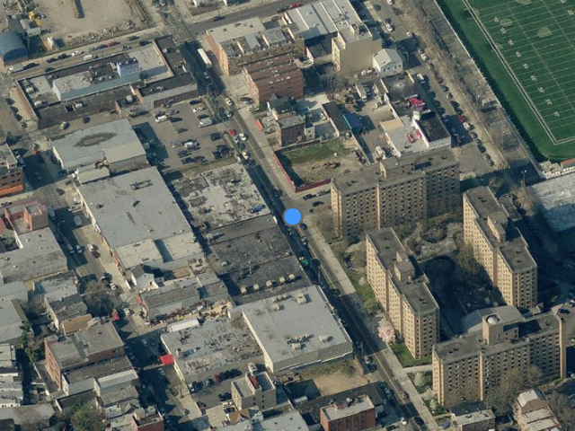 Linden & Latimer Place Apartments, northeast of blue dot, overhead shot from Bing Maps