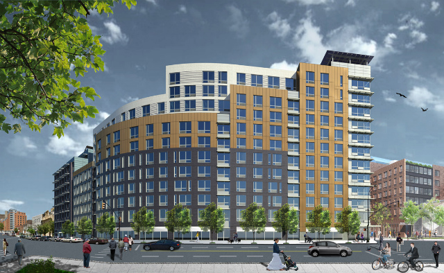 Melrose Commons North Site C as seen from the east, rendering by Magnusson Architecture and Planning