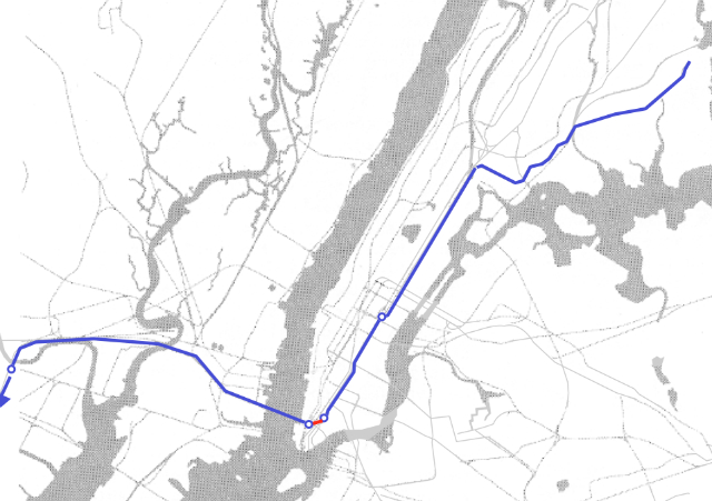 The PATH and 6 trains in blue, and the proposed connection in red. Diagram by the Regional Rail Working Group.