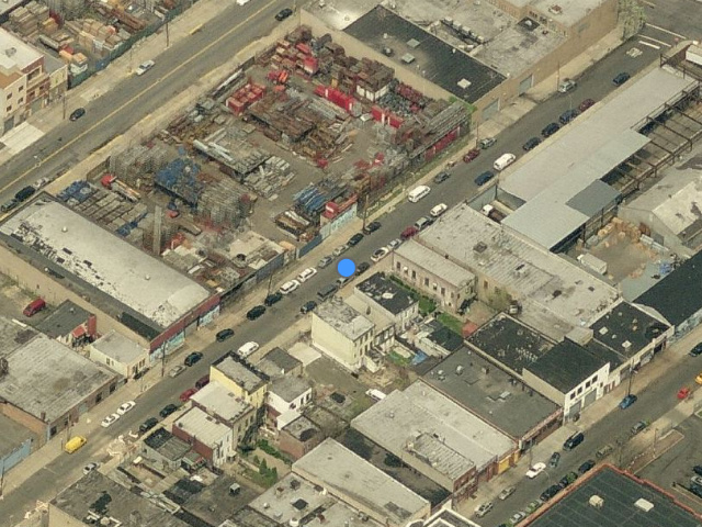 38-43 12th Street, below the blue dot, overhead shot from Bing Maps