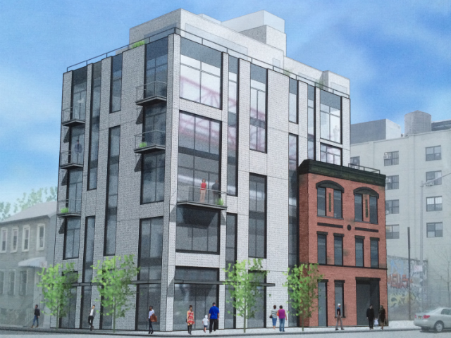 95 South 5th Street, rendering from construction fence