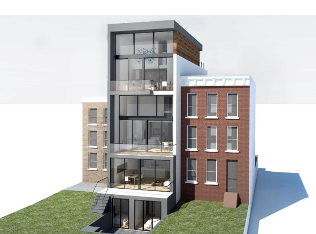 97 Douglass Street (rear), rendering from Atelier Architecture