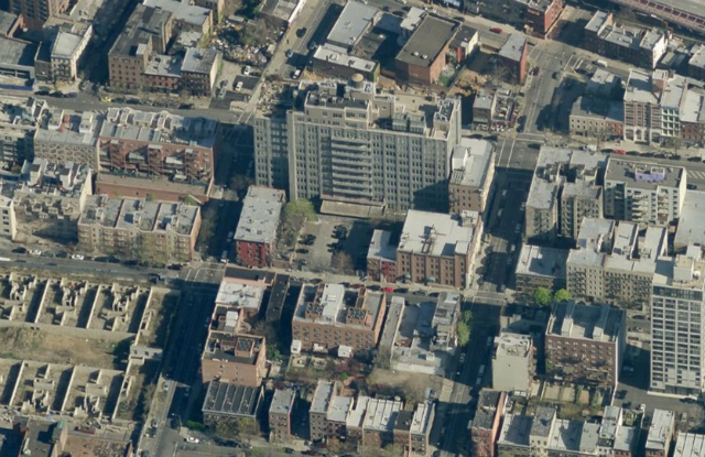 69 & 75 South 8th Streets (empty lots at center), Gretsch building to the north; image from Bing Maps