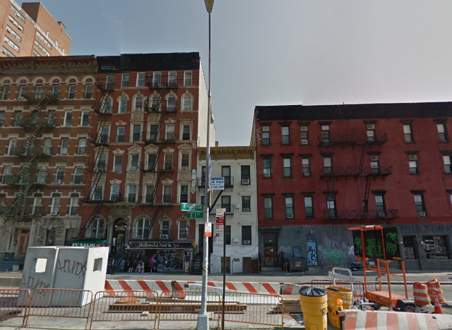 118 East 1st Street (short building in center), image from Google Maps