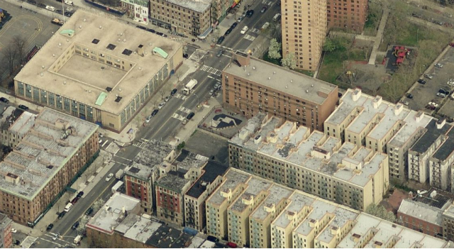 275 West 140th Street (empty lot at center), image from Bing Maps