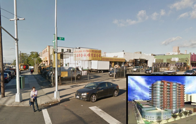 134-03 35th Avenue, main image from Google Maps, inset rendering via the Queens Chronicle