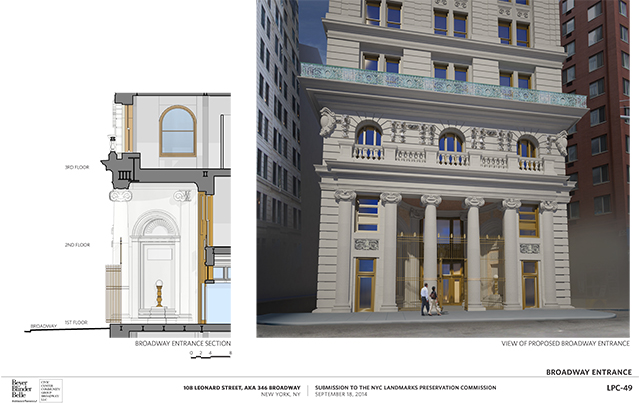 Previous proposal for Broadway entrance to 346 Broadway, with fence