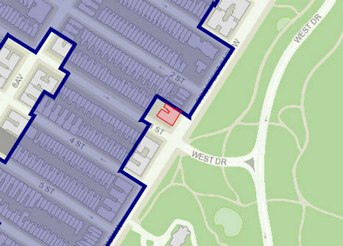 Historic district in blue, 70 Prospect Park West in red