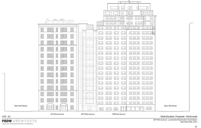 Proposed design for the new 807 Park Avenue