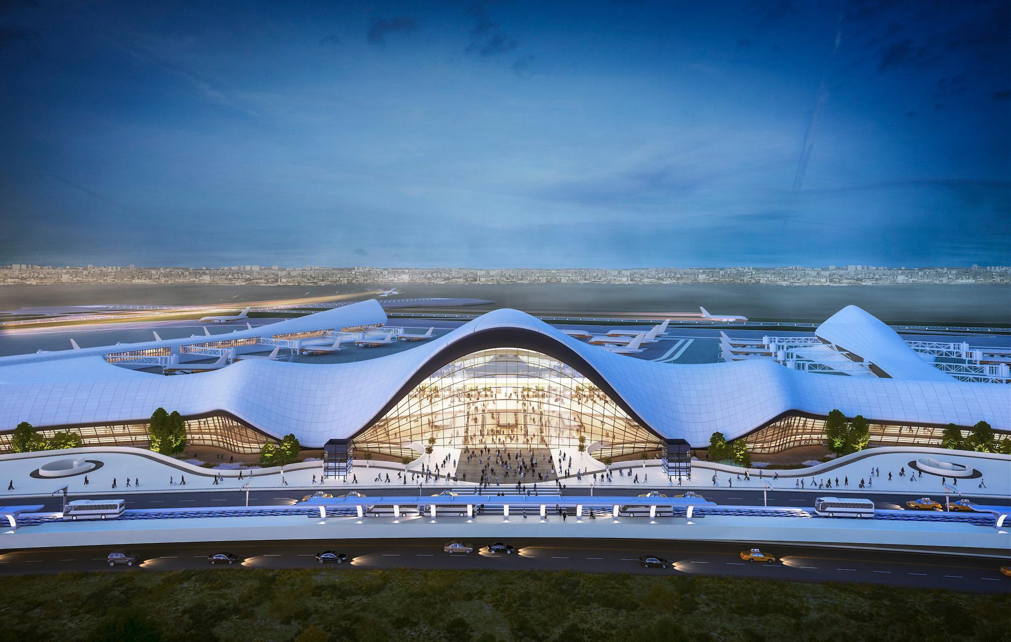 Conceptual rendering of redeveloped LaGuardia Airport, rendering by Neoscape