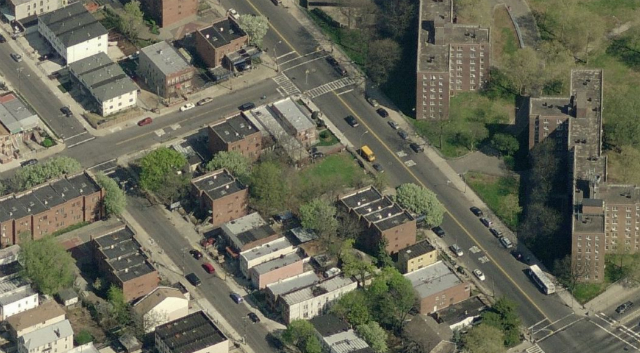 494 Fountain Avenue (empty lot at center, across from NYCHA projects), image from Bing Maps