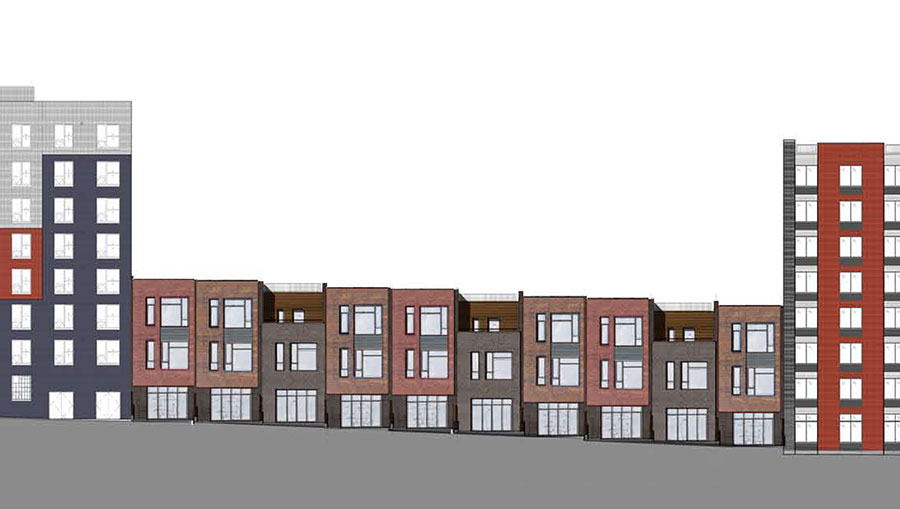 Clermont Avenue façades, rendering from Dunn Development