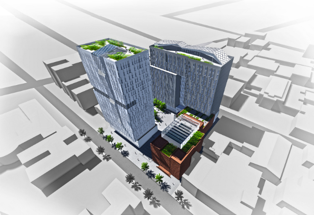 Library Square, rendering from BLA