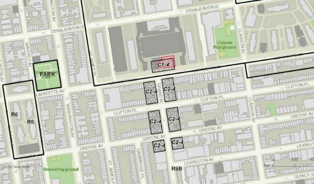 Zoning in Clinton Hill (Key Foods in red, new retail allowed in thatched areas)