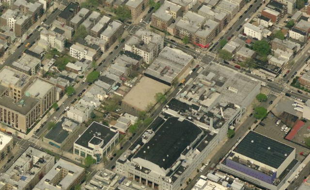 34-22 35th Street (vacant lot at center), image from Bing Maps