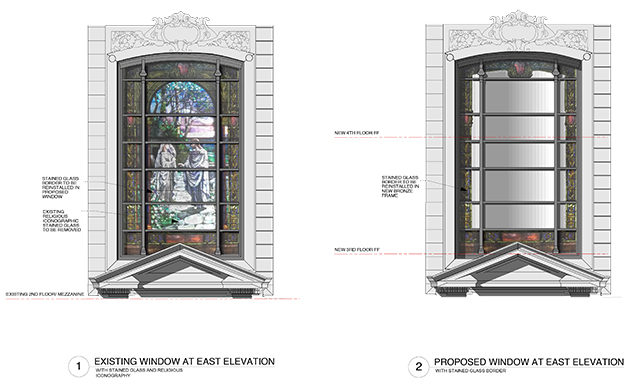 Stained glass window on Central Park West side of 361 Central Park West, existing and as proposed Feb. 10, 2015