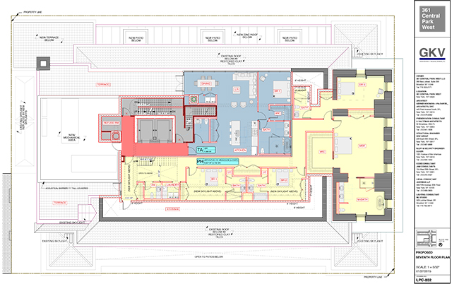 361 Central Park West, proposed seventh floor plan
