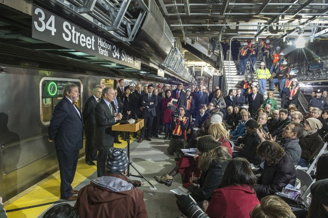 "Michael Bloomberg ""opening"" the 7 train extension, which is still not actually open. Photo by the MTA's Patrick Cashin."