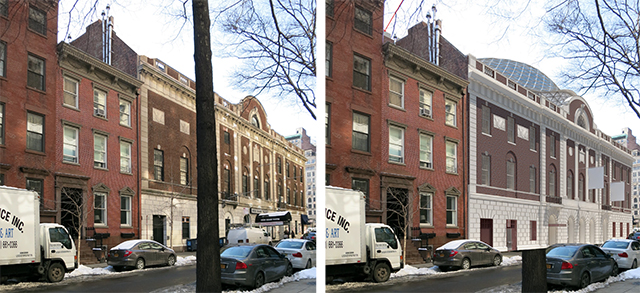 Tammany Hall, 17th Street side, existing and as approved