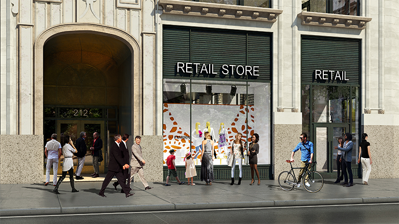 Rendering of retail at 212 Fifth Avenue
