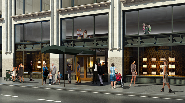 Rendering of residential entrance for 212 Fifth Avenue