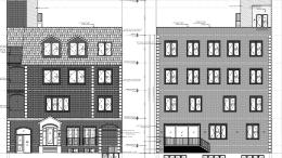 311 Wallabout Street, front and rear renderings by Jeffrey Kamen Architect