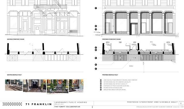 Storefront changes for 71-73 Franklin Street
