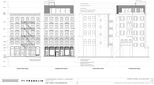 Front and rear changes for 71-73 Franklin Street