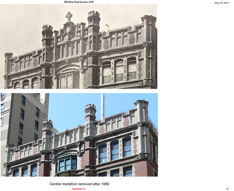 555 West End Avenue, before and after the invention at the parapet
