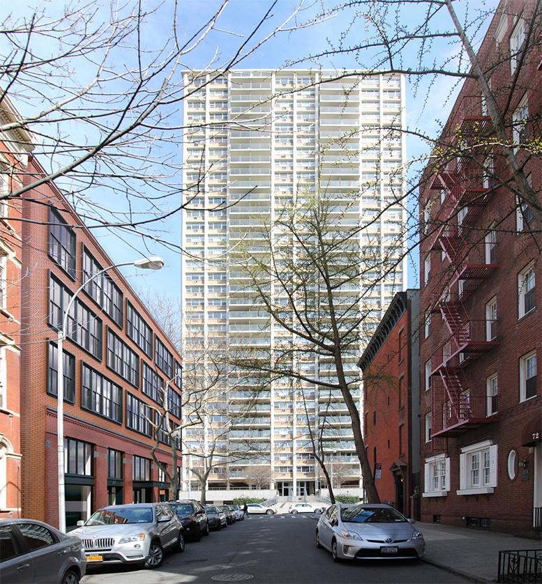 Proposal for 70 Henry Street (seen on left), viewed from Orange Street