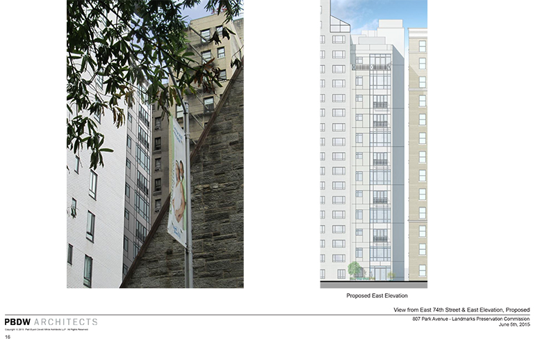 Revised design for the rear of 807 Park Avenue