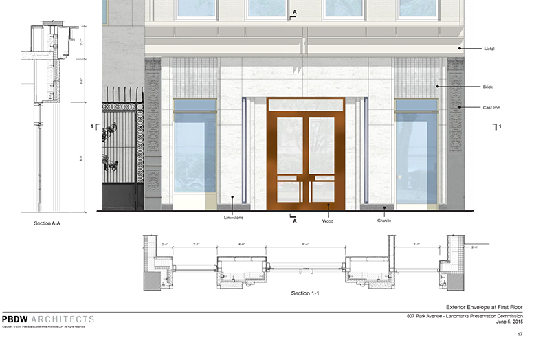 Revised design for the base of 807 Park Avenue