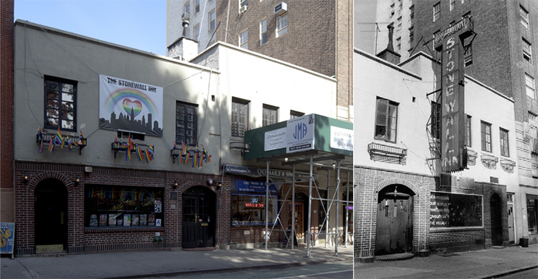 The Stonewall Inn, 2014 and 1969. Credit: LPC