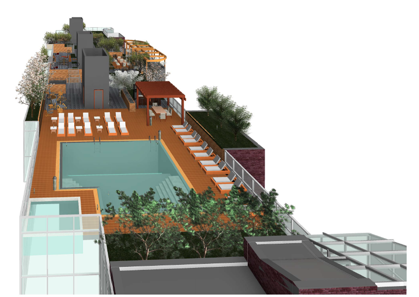 The roof deck for 211 McGuinness Boulevard, rendering by Gene Kaufman Architect