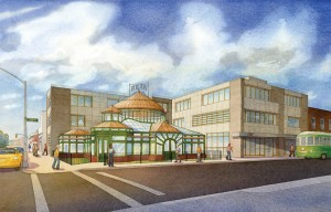 2015 proposal for restored Weir Greenhouse and new three-story building. Not approved. Rendering: Page Ayres Crowley Architects