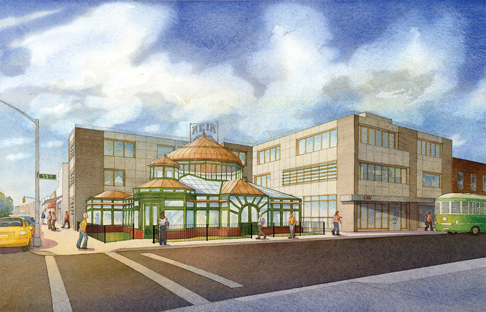 Proposal for restored Weir Greenhouse and new three-story building. Not approved.